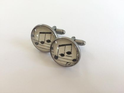 Music Note Glass Cabochon Cuff Links- 18mm