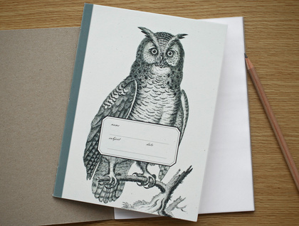 Vintage Owl Large Notebook
