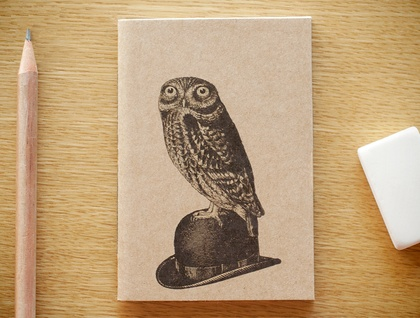 Owl on a Bowler Hat very small notebook