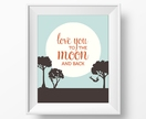 Love You to the Moon and Back – 8x10 art poster