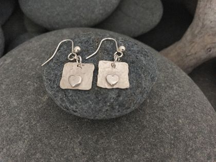 Silver with Silver Heart Earrings [2018-0040]