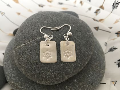 Rectangle Silver Flower Earrings [2018-0102]