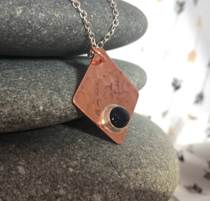 Copper & Black Onyx Pendant   [118]