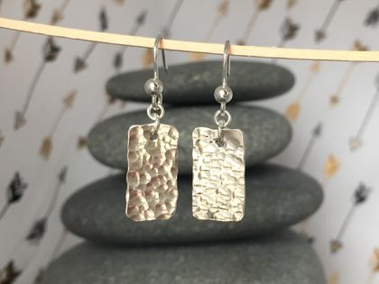 Textured Silver Rectangle Earrings [2018-0110]
