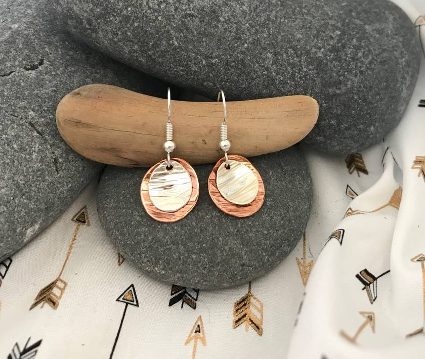 Two Toned Dome Earrings [18-0132]