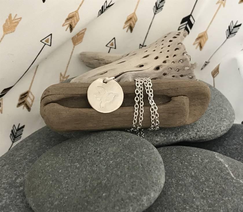 Silver Hummingbird Disc Pendant  [161]
