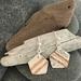 Silver Pentagon with Copper Strips - Earrings [170]