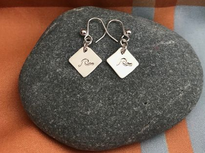 Silver Square Earrings with Imprinted Waves [19-0179]