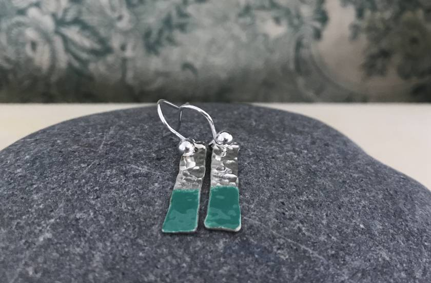 """'Paint Drip"""" - Silver & Enamel Earrings - Green  [205]"""