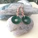 Copper & Enamel Round Window Earrings (Deep Green)  [#265]