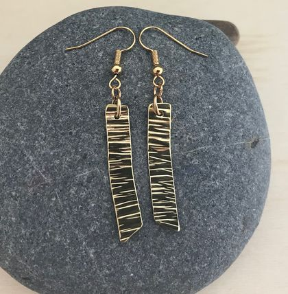 Rectangle Brass Earrings with Line Texture  [#304]