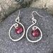 Silver Wire & Enamel Earrings - Mauve  [#298]