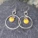 Silver Wire & Enamel Earrings - Yellow  [#285]