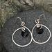 Silver Wire & Enamel Earrings - Black  [#296]