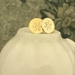 Brass Flower Imprinted Post Earrings [#318]