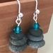 Rock & Blue Crystal Cairn Stack Earrings [349]