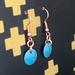 Copper & Enamel Earrings - Bright Blue  [#368]