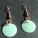 Copper & Enamel Earrings - Pale Green   [#361]