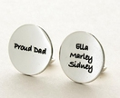 """Proud Dad"" Custom cufflinks for Dad ... sterling silver ... Father of the Bride ... Grandfather ... Wedding - Anniversary - Christmas"