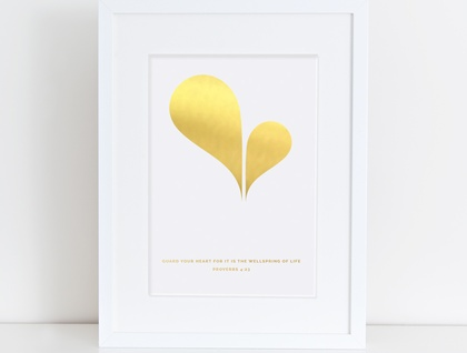 Heart Spring A4 Gold Foil Print