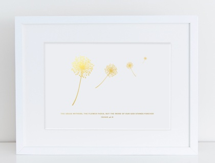 Flowers Fade A4 Gold Foil Print