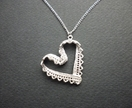 SALE - Silver Lace Ribbon Heart - Retro Inspired Necklace