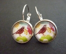 Contemporary bird glass dome earrings
