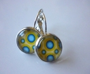 Blue and yellow spotty drop earrings