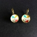Retro leaf motif earrings