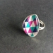 Bold and bright geometric teardrop design large ring