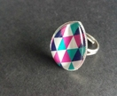 Bold and bright geometric teardrop design large ring