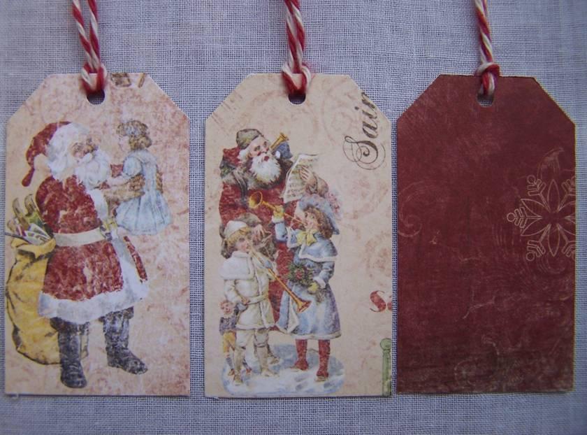 "10 ""Vintage Santa"" Gift Tags"