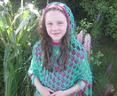 Hooded Girl's Acrylic yarn Poncho OOAK - Wearable All Season
