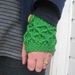Vibrant Spearmint Green Wool Latticed Fingerless Mitts -100% AUSTRALIAN WOOL