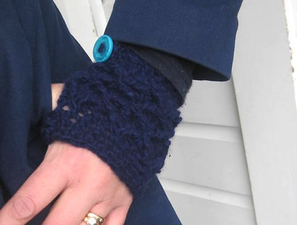 Navy Blue NZ Merino and Angora WOOL Latticed Fingerless Mitts with Chunky, Vibrant Turquoise Buttons