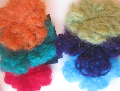 Mohair flower pins