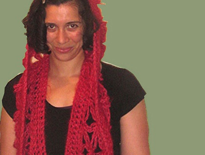 CLEARANCE Rose Red Hooded Scarf in Heavenly Merino, Mohair and Silk Blend Wool
