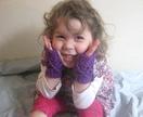 MINI Latticed Fuchsia Fingerless Mitts for girls - 100% Australian WOOL