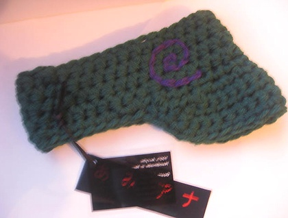"Forest Green with Purple Koru Crochet Baby ""Bookie"" Visor in Double Yarn Soft 100% Acrylic Yarn"