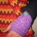 Vibrant Lilac Wool Latticed Fingerless Mitts with Chunky Spearmint Buttons -100% WOOL