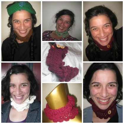 Pink-ish Melon Wool Frilly Victorian-esque Neck Warmer with Fuchsia Buttons - Button-up - CUSTOM MADE TO ORDER
