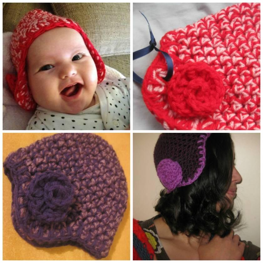 Sweet'n'Snug Newborn Baby Girl Rose Earflap Hat in Double Yarn Soft 100% Acrylic Yarn - CUSTOM MADE TO ORDER