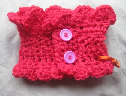 Melon Red Wool Frilly Victorian-esque Neck Warmer with Fuchsia Buttons - Button-up - CUSTOM MADE TO ORDER