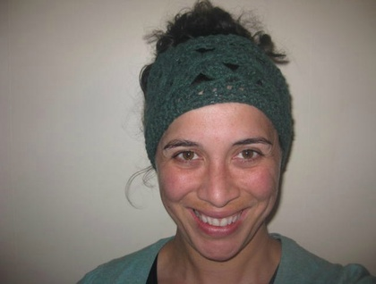 Jade Green Soft'n'Chunky Merino Wool Blend Flowery Wide Crochet Headwrap/Neckwarmer - Merino, Angora and Nylon Wool Blend