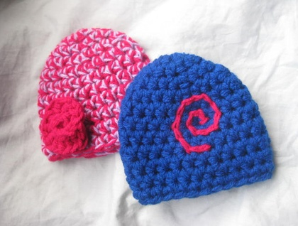 NEW Gorgeous Double Yarn Prem Baby Hats in 3 styles made with Soft 100% Acrylic Yarn - Custom Made to Order
