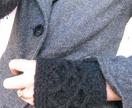 Black lattice fingerless mitts - Merino and Possum