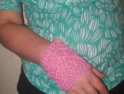 Pink Wool Latticed Fingerless Mitts with Chunky Bright Orange Buttons -100% WOOL