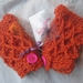 Fiery Orange Wool Latticed Fingerless Mitts with Chunky Hot Pink Buttons -100% WOOL