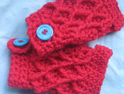 Extra Thick and Chunky Scarlet Red Wool Latticed Fingerless Mitts with Marbled Turquoise Buttons -100% WOOL