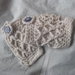 Pearl Wool Latticed Fingerless Mitts with Chunky Blue Buttons -100% WOOL